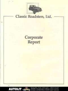 1986 Austin Healey 3000 Saxon MGTD Kit Car Brochure |