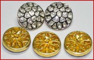 Unique Uncut 4.34ct DIAMOND ANTIQUE VICTORIAN GOLD 5X Coat Buttons