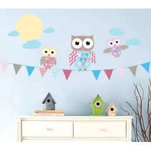 Kids Banner Vinyl Wall Decal with Flags 3 Owls Moon and