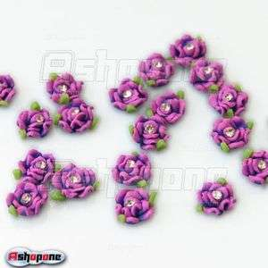 20x Purple Ceramic Rose Flower Rhinestones For 3D Nail Art Tips
