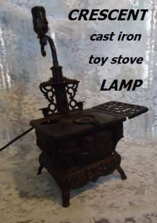 CRESCENT childs Toy Cast Iron Stove LAMP 1930s vintage