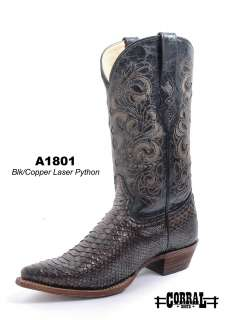 Corral Mens Western Boots Genuine Python/Leather Black/Copper C1801