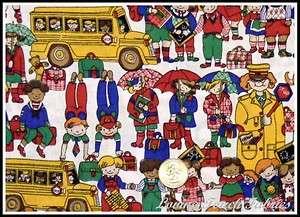 School Teacher Bus Children Crossing Guard Fabric