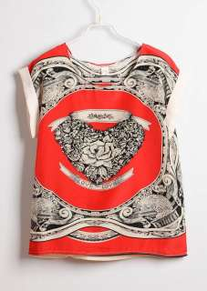 Womens Chiffon T Shirt Blue/Red Tops Short Sleeve Top Round Neck Shirt
