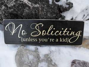No Soliciting Front Door Home Decor Wood Sign