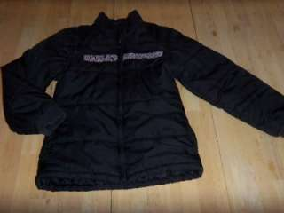 Womens HARLEY DAVIDSON Black Pink Sequin PUFFER JACKET Motorcycle