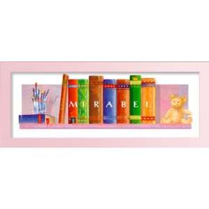 Child first library with crayons and teddy bear. personalized with