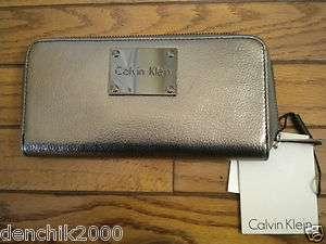 New CALVIN KLEIN Zip Around Leather Wallet Silver