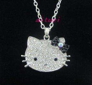 Big Hello Kitty Black bow pendant necklace chain necklace xmas gift