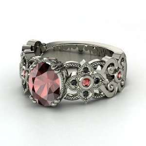 Mantilla Ring, Oval Red Garnet 14K White Gold Ring with