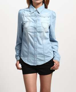 Bleached Denim Roll Up SHIRTS BLOUSE Puff Sleeve Button Jean Top