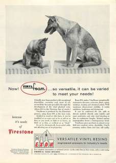 1956 Exon Vinylfoam, Vinyl, German Shepherd Dogs Ad, Vintage