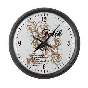 Large Wall Clock Faith Dove   Christian Cross Dove