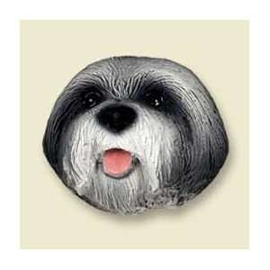 Lhasa Apso Puppy Cut Dog Magnet   Gray  Kitchen & Dining