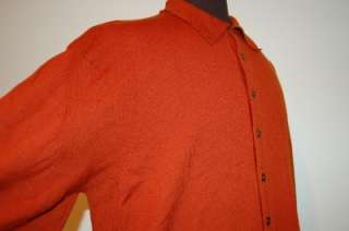 front SHIRT STYLE MERINO WOOL SWEATER sz XL   Burnt Orange!