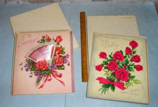 Vintage 1940s Oversize Sweetheart Christmas & Birthday Cards in Boxes