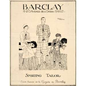 1928 Ad French Barclay Sporting Tailor Golf Art Deco