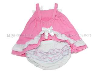 One Set Outfit Baby Girl Ruffle Dress w/ Pant Blommers Nappy Cover 1 2