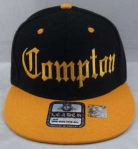 Snapback Hat LA Cap EazyE Dre Cube NWA Black Yellow Gold New Hats Caps