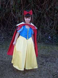 GIRLS SNOW WHITE GOWN DRESS CUSTOM COSTUME 10 16