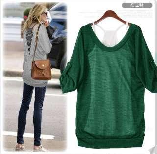 New Korea Womens Trendy Comfort Sexy Top + Shirt 2 Pcs SET T shirt