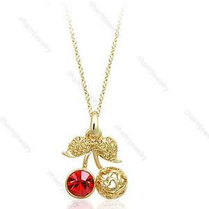 Trendy Fashion Korean Lovely Cute Crystal Cherry Pendant Necklace HOT