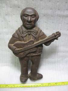 vintage cast iron bank black americana mexican musician guitar hobo