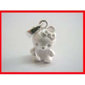 Textured Teddy Bear Pendant Solid Sterling Silver