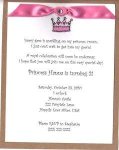 Princess Birthday Party InvitationCrown,Castle CUTE