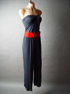 Navy Blue Retro Red Belt Belted Strapless Bandeau Style Soft Knit