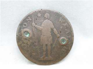 Unique 1788 Massachusetts Colonial Cent United States Coin