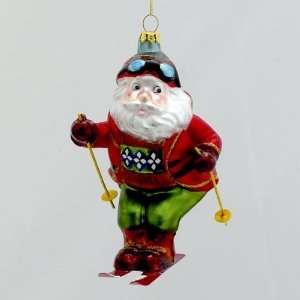 Pack of 6 Glass Snow Skiing Santa Claus Christmas