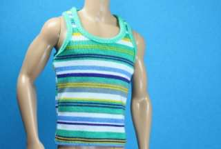 Green Yellow Light Blue Black Sport Stripe Print Tank shirt for