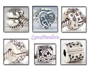 925 Solid Sterling Silver Clips Group 5B fits European Bead Charm