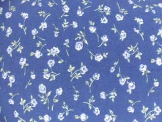LL Bean Size 8 Petite Long Button Down Dress Blue Floral Short Sleeves