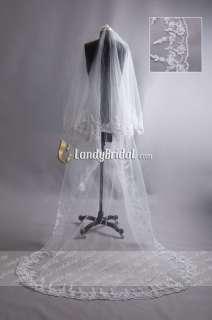 Elegant Wedding Bridal Veil Lace Trim Quick Delivery