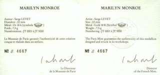 Gold Medallion Marilyn Monroe La Monnaie de Paris 1987