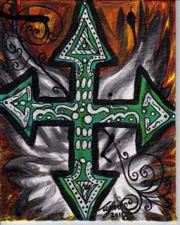 Original Gothic Cross Angel Wing Painting