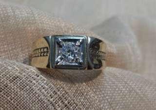Mens 10k yellow gold Mine cut .35ct diamond ring size 81/2