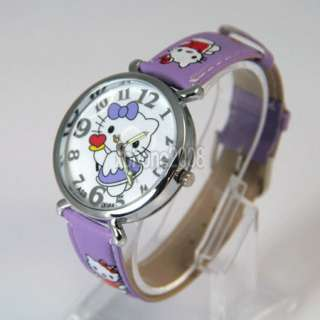 Cartoon Pattern HelloKitty Girls Quartz Watch Wrist Band Gift