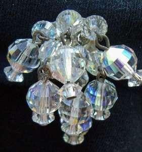 Vintage Aurora Borealis Crystal Chandelier Earrings
