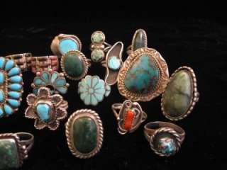 VINTAGE LOT 21 NATIVE TAXCO STERLING SILVER TURQUOISE RINGS WEAR SCRAP