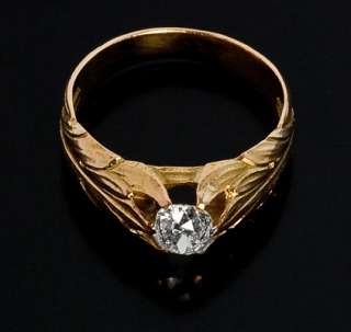 Antique Russian Gold and Diamond Mens Ring