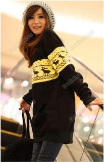 Women Korea Fashion Deer Printing Cotton Jacket Long Sweatshirt Top