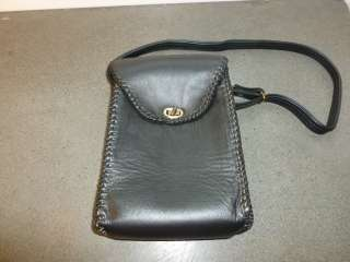 Vintage Black Leather Classic Lunch Bag Tote Purse