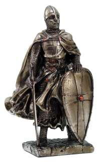 CRUSADER MEDIEVAL KNIGHT with ARMOR HELMET & SWORD FIGURINE STATUE