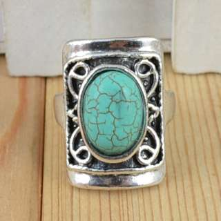 10pcs Antique Silver Plated Vintage Turquoise Stone Rings R194