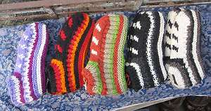 pairs pure yak wool fleece lined hand knitted tibetan socks, nepal