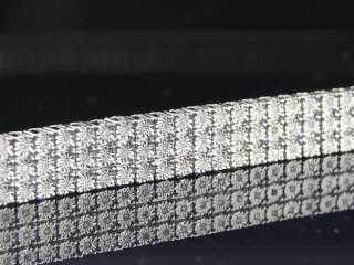 MENS 3 ROW WHITE GOLD FINISH REAL DIAMOND BRACELET TENNIS LINK BANGLE