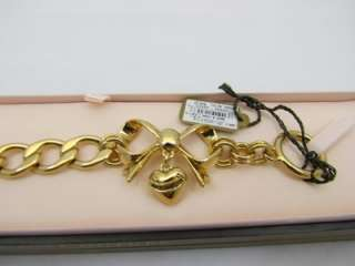 Juicy Couture Gold Bow Heart Charm Starter Bracelet YJRU4595 *NIB+GIFT